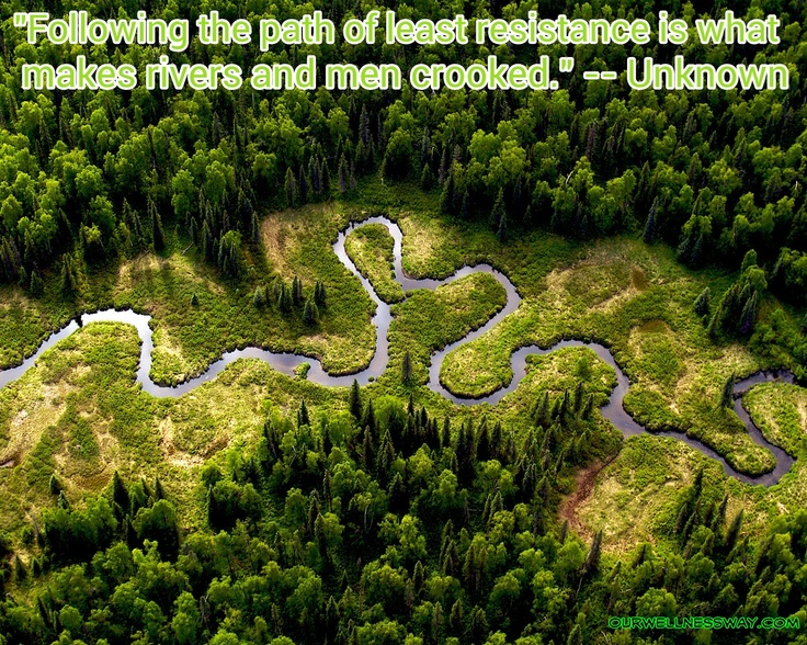 """""""Following the path of least resistance is what makes ..."""