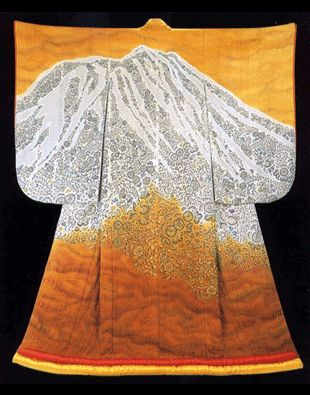 What is special about Itchiku Kubota's work? Well firstly, the colours are unbelieveable. He hand painted & dip-dyed over and over again to build up harmonies of incredible subtlety & richness. He revived an ancient shibori technique called tsujigahana and developed it using modern dyes and methods: nvolves brush painting the outline design onto the tacked together kimono and adding intricate sumi ink paintings, then stitching and binding miniscule portions of the silk, dyeing them by…