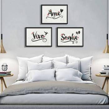 Conjunto de quadros para parede com 3 itens Aquarelados - Arrumadíssimo
