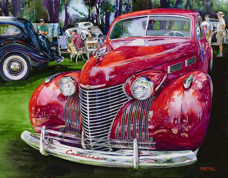 Concours' Cadillac Painting by Mike Hill - Concours' Cadillac Fine Art Prints and Posters for Sale