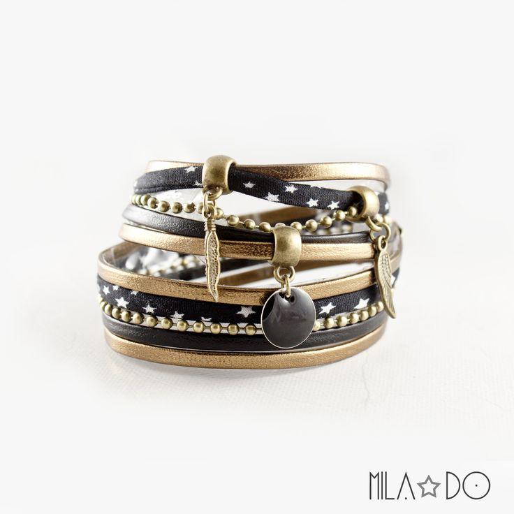 Bracelet manchette noir et bronze || Ailes bronze sequin émail noir : Bracelet par mila-do