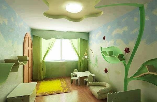 grüne dekoideen für kinderzimmer gelber teppich tisch