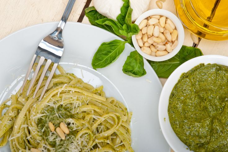 F43KN3 Italian traditional basil pesto pasta ingredients. Image shot 04/2015…