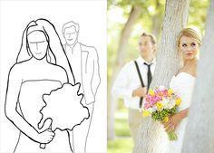 20 лучших поз для свадебной фотосессии, невеста крупным планом, жених сзади