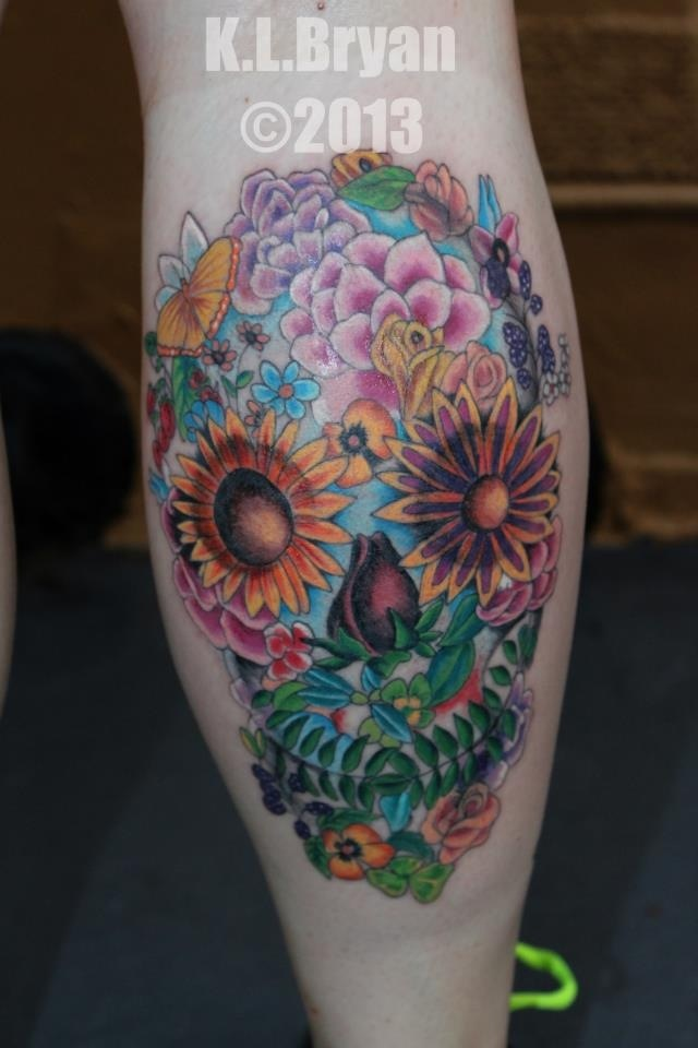 flower sugar skull tattoo - photo #3