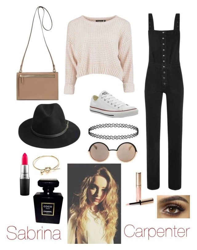 """""""Style icon: Sabrina Carpenter"""" by gxacep ❤ liked on Polyvore featuring MiH Jeans, Converse, BeckSöndergaard, Marc by Marc Jacobs, MAC Cosmetics, By Terry, Chanel, women's clothing, women's fashion and women"""