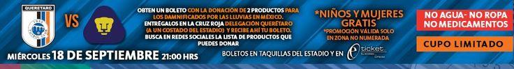 Nuevamente seguimos apoyando a los Gallos Blancos de Querétaro, en su partido de hoy. Obtén tu boleto con la donación de 2 productos para los damnificados por las lluvias en México. Más información en nuestro portal en la sección de Deportes... Queretaro.com.mx