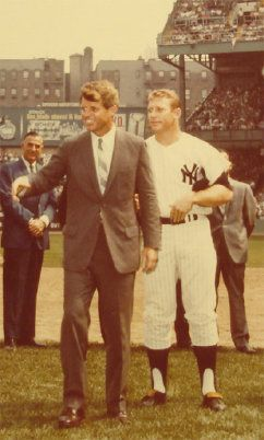 Robert Kennedy and Mickey Mantle at Yankee Stadium, late 1960s