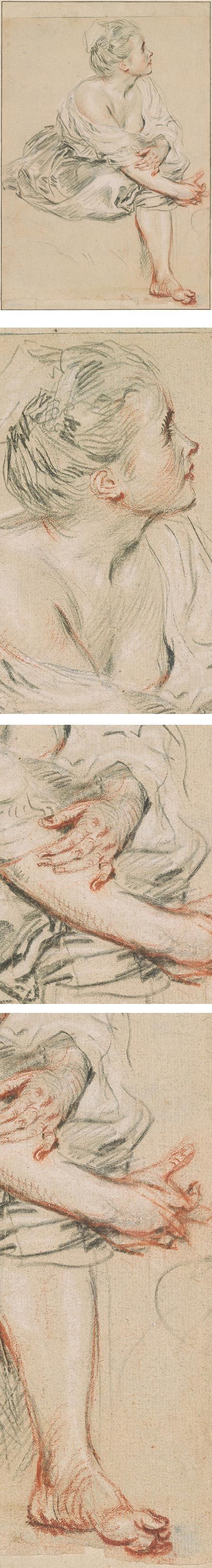 Seated Young Woman,  Jean-Antoine Watteau, Black, red and white chalk drawing on buff paper