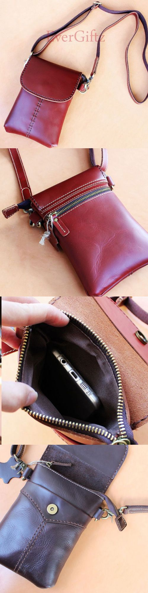 Handmade phone leather vintage women handbag shoulder bag crossbody bag