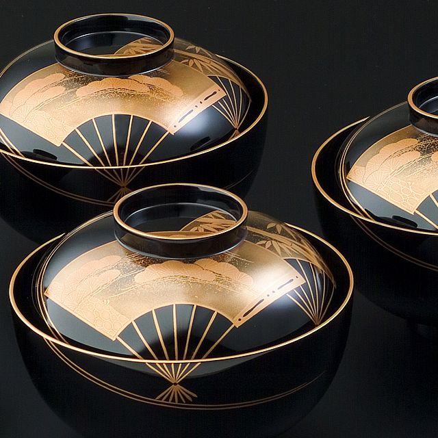輪島塗 吸い物椀 扇面に水蒔絵 Wajima Japan