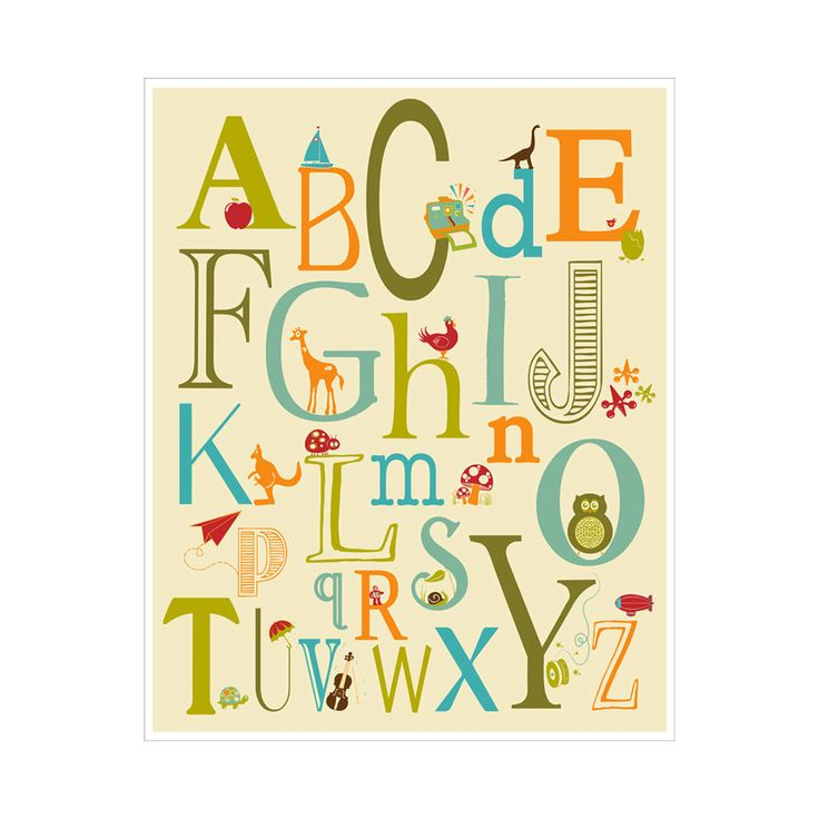 Children's Wall Art / Nursery Decor Alphabet Poster - ABC alphabet typography 11x14  inch Poster Print. $20.00, via Etsy.