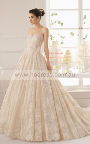 Sleeveless Buttons Lace Sweetheart Ball Gown Wedding Dresses gdcf1132--Hodress