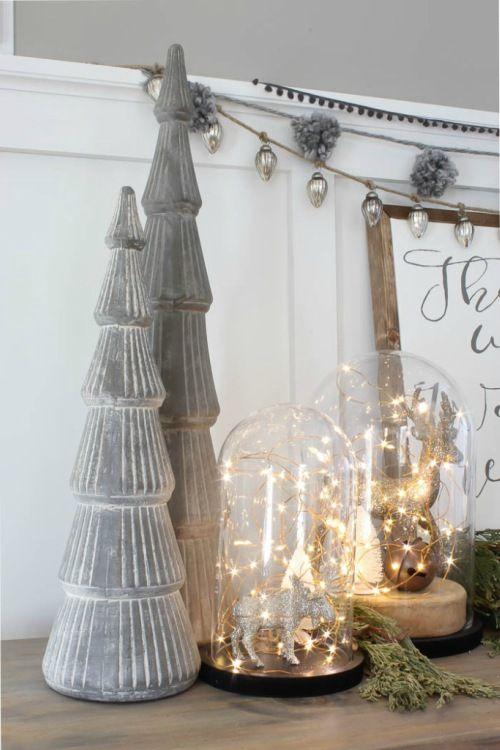 Decoratie met kerstverlichting: Eland onder stolp