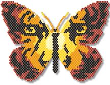 Tiger Eyes Butterfly by Megan's Beaded Designs Use this beautiful pattern for the center of a necklace, as an amulet, pin, ornament, sun catcher, or hair piece. Add tassels, fringes, and rose as you see fit. Includes realistic, life-size thumbnail, and enlarged, full color chart for easy following. List of suggested colors. Peyote or brick stitch instructions not included.