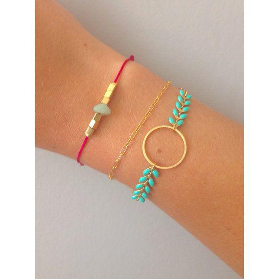 """Bracelet """"Olympe"""" - Cercle / Rond - Chaîne épis Mint - Bijoux G.emma - Bijoux minimalistes et fantaisies - pierres semi-précieuses"""