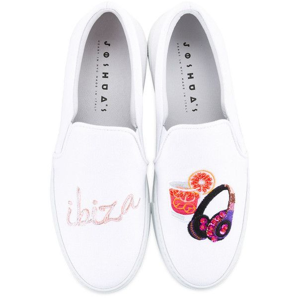 Joshua Sanders Ibiza slip-on sneakers ($389) ❤ liked on Polyvore featuring shoes, sneakers, white slip on shoes, slip on shoes, white slip on sneakers, white shoes and slip-on sneakers