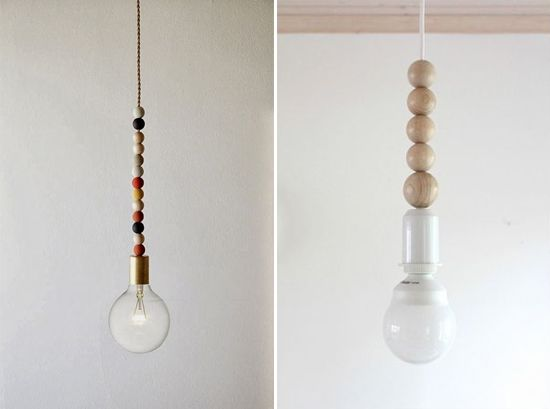 Wood bead pendant lighting