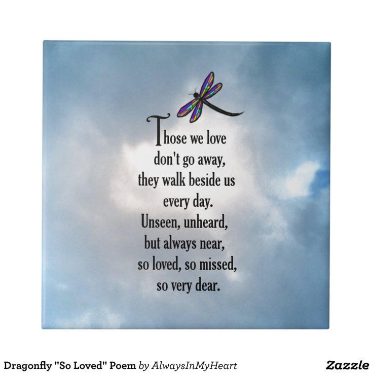 """Dragonfly """"So Loved"""" Poem Ceramic Tile"""