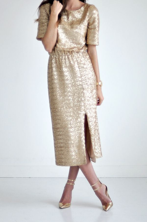 Bree Lena Custom Sequin Midi Dress - Champagne Gold