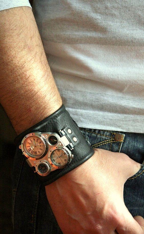 Mens armbanduhr lederarmband Pathfinder, steampunk uhren, geschenke für ihn, militäruhren uhrenarmband, uhrenarmband, verkauf, schenkung.  Kalter Stahl,