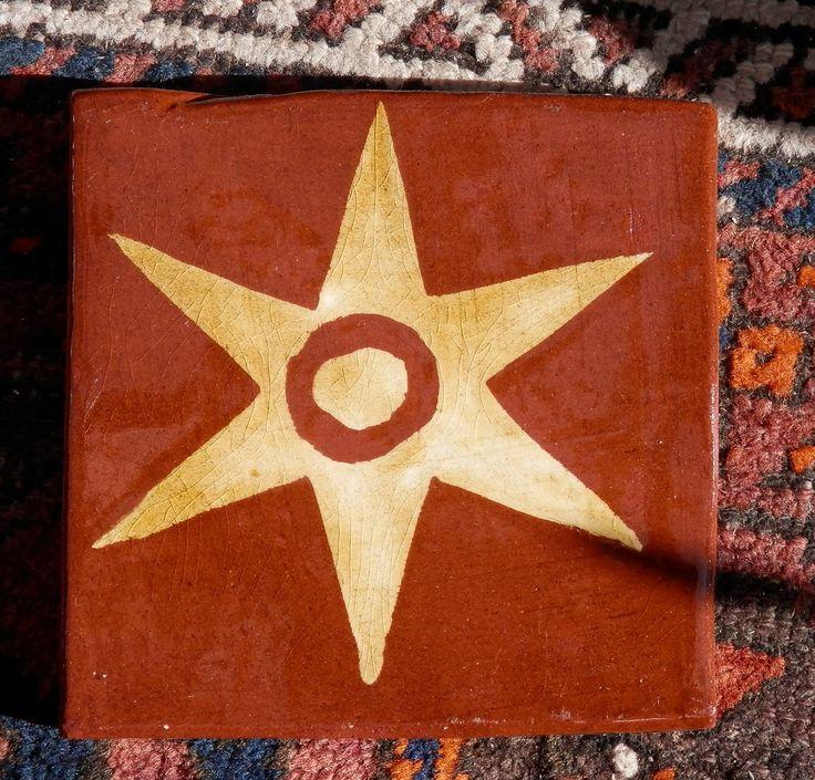 Star - replica inlaid medieval tile by Tanglebank Tiles