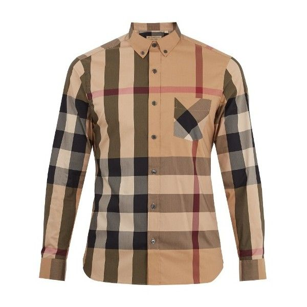 Burberry Thornaby House-check cotton-blend shirt (660 BRL) ❤ liked on Polyvore featuring men's fashion, men's clothing, men's shirts, men's casual shirts, beige, linen cotton blend men's shirts, mens slim fit casual shirts, mens slim fit button up shirts, mens slim shirts and mens button up shirts