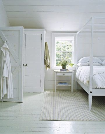 love a white painted floor...