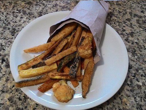 Verdura fritta con il piatto crisp del microonde