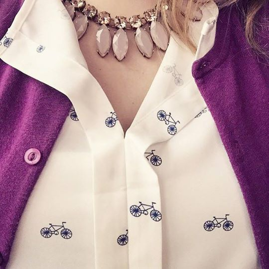 love the pattern of this top! I bicycle to work all of the time. This is so cute!