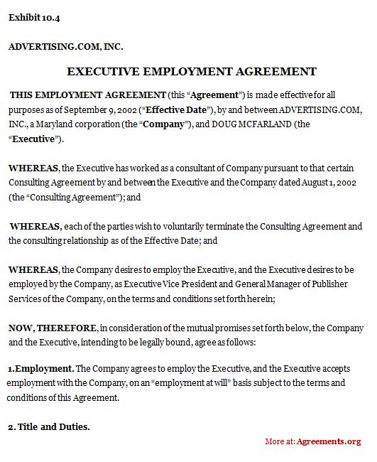 Executive Employment Agreement #executive #employment #agreement - sample executive agreement