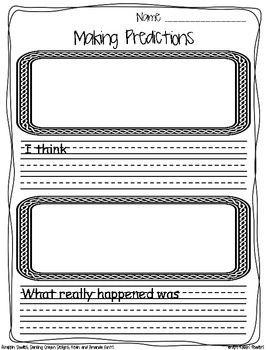 Predictions Response Sheet {FREEBIE} This is a simple predictions response sheet. Students make their predictions before reading the story and then write about what really happened after reading the story. Click through now to grab this FREE DOWNLOAD for your Kindergarten, 1st, 2nd, 3rd, or 4th grade classroom!