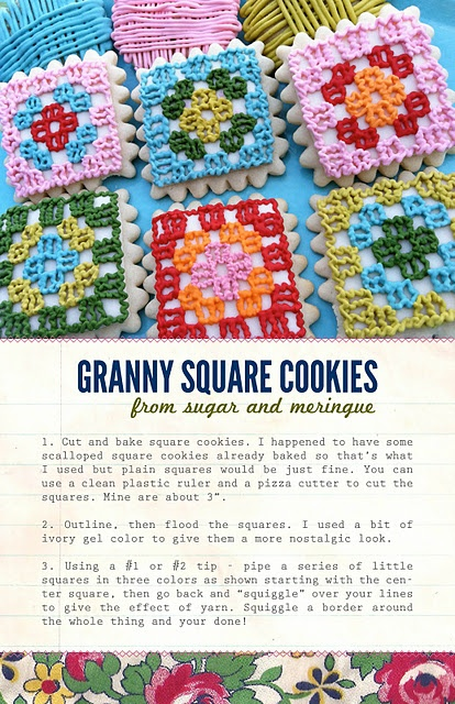 crochet granny square cookies
