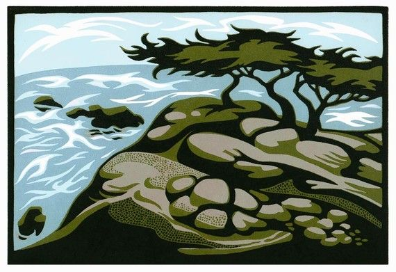 MONTEREY CYPRESSES is an original color linocut from a limited edition of 25. Designed, cut, and printed by Natalia Moroz.   STUNNING.