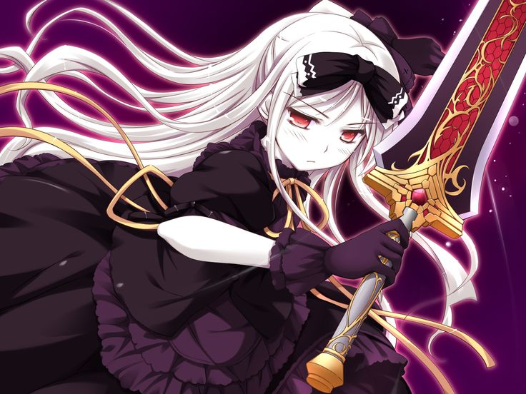 Anime girl with silver hair and sword