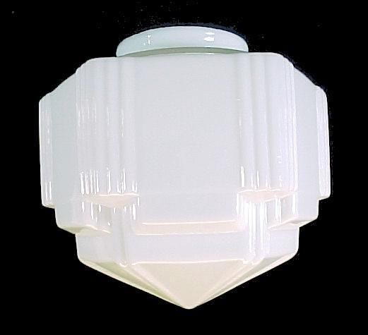 Pendant Light Shade Art Deco White Glass Globe 4 X 8 85 SkyScraper Milk Lamp