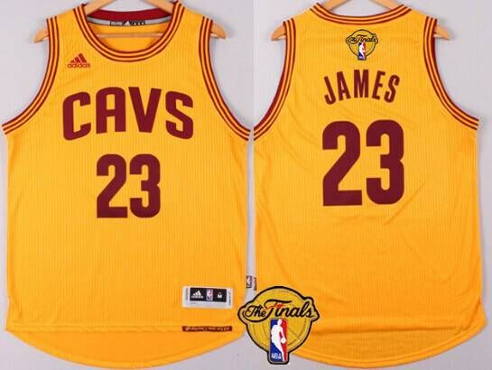 474e23c2437a ... Mens Cleveland Cavaliers 23 LeBron James 2016 The NBA Finals Patch  Yellow Jersey .