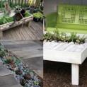 Mobiliário ecológico com uma mesa feita com paletes