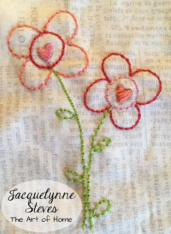 Flower and Heart embroidery | JacquelynneSteves.com #handembroidery