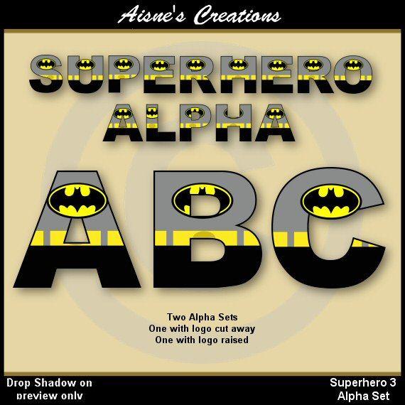 Batman (Justice League) Alphabet Letters & Numbers Clip