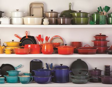 Le Creuset, I love all the different colours together, yay don't need to decide on one!!!