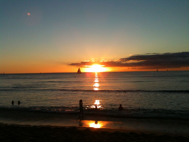 Sunset at Waikiki, Hawaii.  Take me back.....