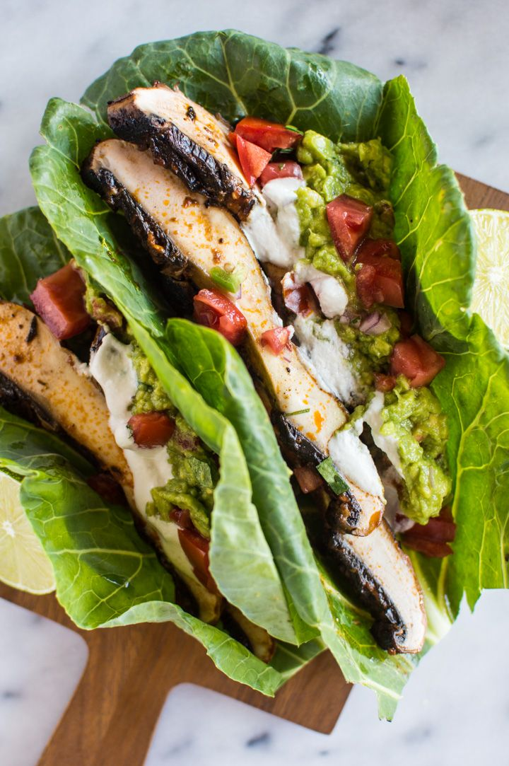 Harissa Portobello Mushroom Tacos - lighten up your tacos with collard greens! These tacos are ready in under 30 minutes! vegan, gluten-free, paleo, whole30 | healthynibblesandbits.com