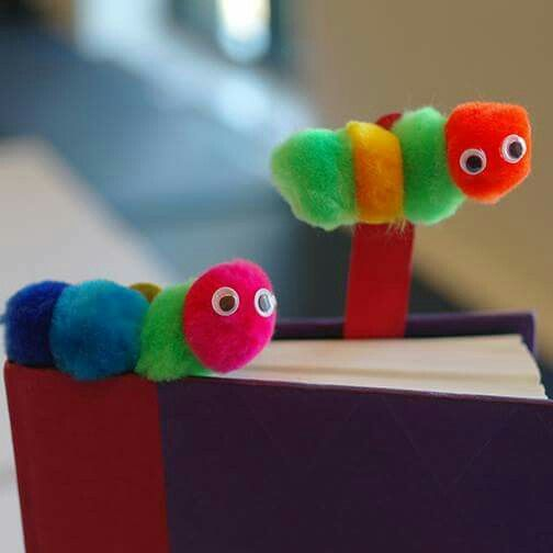 Bookworm bookmarks... looks easy to make, just pompoms, some larger size popsicle sticks and googly eyes