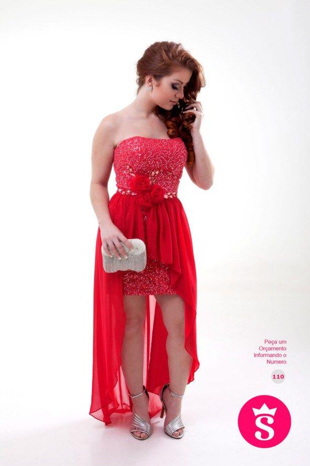 110 - Vestido Curto Mullet Coral com Brilho