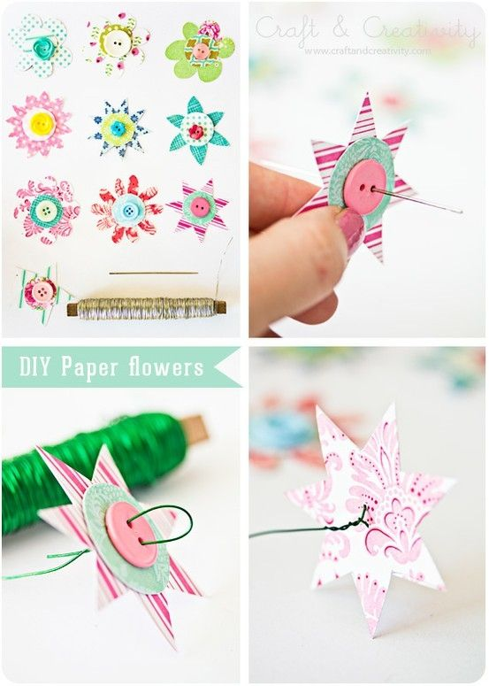 {DIY Paper Flowers with Buttons}