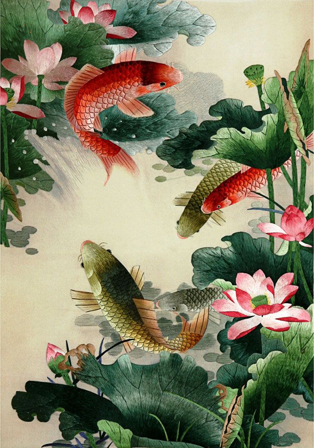 fish and lotus flowers, Chinese silk embroidery