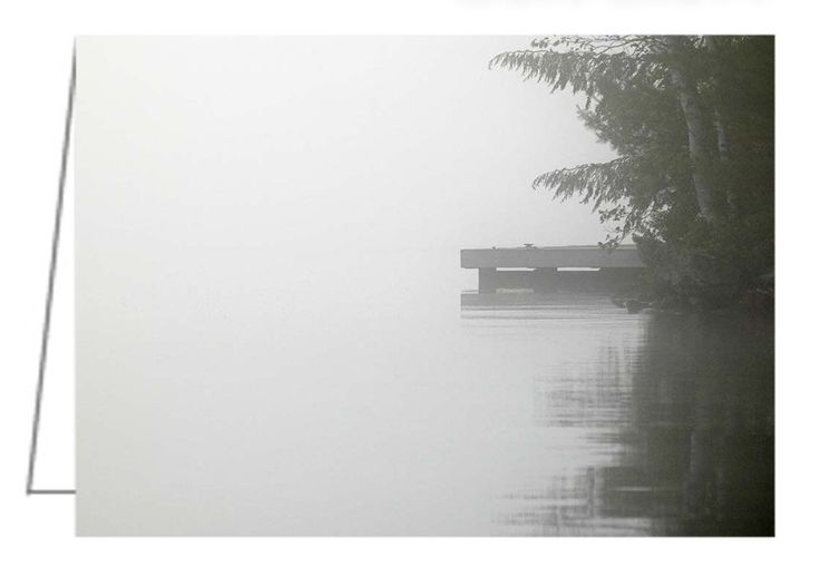 """Cottage Dock - A Misty Morning on Lake Joseph, Muskokas - Greeting Card. 5"""" x 7"""". Blank inside. Includes envelope. Buy online at Rob's Cards and Prints."""