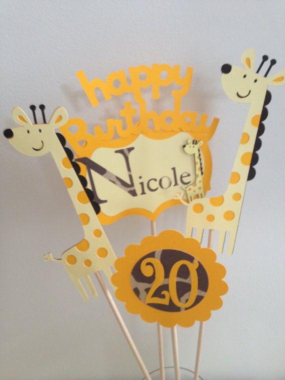 4 Giraffa a tema centrotavola bastoni Circus Party, Jungle Party, partito di Zoo, cupcake Topper, Banner, Set centrotavola
