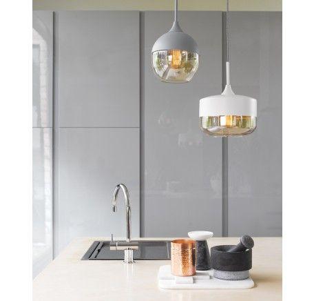 Lunar 1 Light Bowl Pendant in White/Amber | Pendant Lights | Lighting